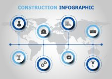 Infographic design with construction icons Royalty Free Stock Images