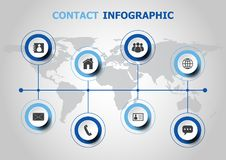 Infographic design with contact icons Stock Photos