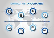 Infographic design with contact us icons Royalty Free Stock Image