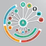 Infographic Design der Schablone auf dem grauen Hintergrund. Stockfotografie