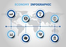 Infographic design with economy icons. Stock vector Royalty Free Stock Photos