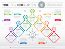 Infographic with design elements. Vector presentation of busines. S processes. Business plan with 7 steps. Abstract Web Template of a pyramidal chart or diagram Royalty Free Stock Photos