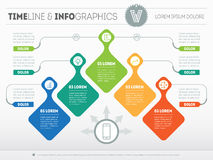Infographic with design elements. Vector presentation of business. Processes. Business plan with 5 steps. Abstract Web Template of a pyramidal chart or diagram Stock Image