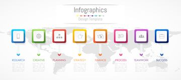 Infographic design elements for your business data with 8 options Stock Image
