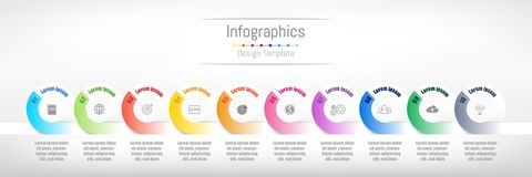 Infographic design elements for your business data with 10 options. Infographic design elements for your business data with 10 options, parts, steps, timelines Stock Photography