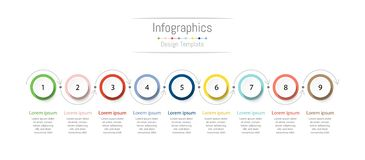 Infographic design elements for your business data with 9 options. Infographic design elements for your business data with 9 options, parts, steps, timelines or stock photo