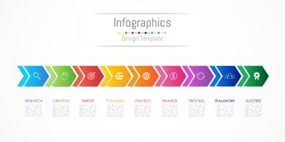 Infographic design elements for your business data with 9 options, parts, steps, timelines or processes, Arrow connect concept. Vector Illustration Stock Photography