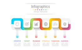 Infographic design elements for your business data with 6 options, parts, steps, timelines or processes. Connection line concept. Connection line concept Royalty Free Stock Photos