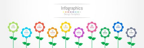 Infographic design elements for your business data with 10 options. Infographic design elements for your business data with 10 options, parts, steps, timelines Royalty Free Stock Photos