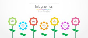 Infographic design elements for your business data with 7 options. Infographic design elements for your business data with 7 options, parts, steps, timelines or Stock Photos