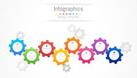Infographic design elements for your business data with 8 options, parts, steps, timelines or processes. Gear wheel concept. Infographic design elements for Royalty Free Stock Image