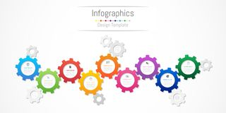 Infographic design elements for your business data with 9 options, parts, steps, timelines or processes. Gear wheel concept. Infographic design elements for Stock Images