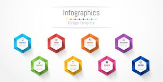 Infographic design elements for your business data with 8 options, parts, steps, timelines or processes. Vector Illustration Royalty Free Stock Photo