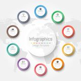 Infographic design elements for your business data with 10 options, parts, steps, timelines or processes. Vector Illustration. World map of this image Stock Photography