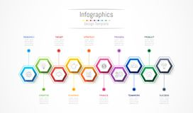 Infographic design elements for your business data with 10 options, parts, steps, timelines or processes. Vector Illustration Royalty Free Stock Photo