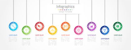 Infographic design elements for your business data with 9 options, parts, steps, timelines or processes. Vector Illustration Royalty Free Stock Photography