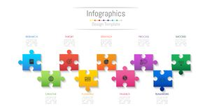 Infographic design elements for your business data with 9 options. Infographic design elements for your business data with 9 options, parts, steps, timelines or Stock Image