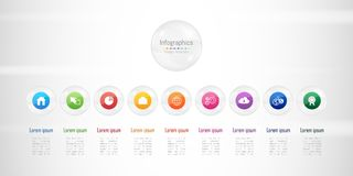 Infographic design elements for your business data with 9 options, parts, steps, timelines or processes. Transparent glass sphere. Infographic design elements Royalty Free Stock Photo