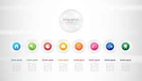Infographic design elements for your business data with 8 options, parts, steps, timelines or processes. Transparent glass sphere. Infographic design elements Royalty Free Stock Photo