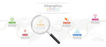 Infographic design elements for your business data with 6 options, parts, steps, timelines or processes and transparent magnifying. Glass.World map of this vector illustration