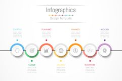 Infographic design elements for your business data with 7 options. Infographic design elements for your business data with 7 options, parts, steps, timelines or royalty free illustration