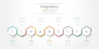 Infographic design elements for your business data with 9 options, parts, steps, timelines or processes. Vector Illustration Stock Photos