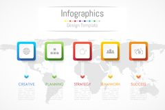 Infographic design elements for your business data with 5 options, parts, steps, timelines or processes. Vector Illustration. World map of this image furnished Royalty Free Stock Photography