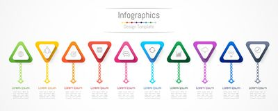 Infographic design elements for your business data with 10 options, parts, steps, timelines or processes. Vector Illustration Royalty Free Stock Photography