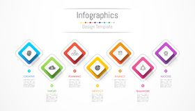 Infographic design elements for your business data with 7 options, parts, steps, timelines or processes. Vector Illustration Royalty Free Stock Photography