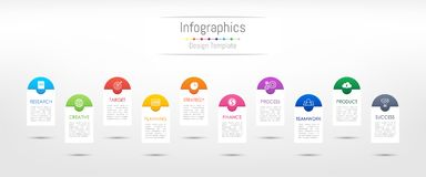 Infographic design elements for your business data with 10 options, parts, steps, timelines or processes. Vector Illustration Stock Photo
