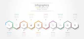 Infographic design elements for your business data with 10 options, parts, steps, timelines or processes. Vector Illustration Royalty Free Stock Photos