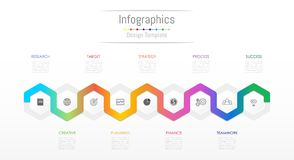 Infographic design elements for your business data with 9 options. Infographic design elements for your business data with 9 options, parts, steps, timelines or Royalty Free Stock Image