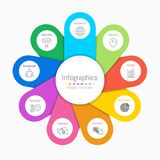 Infographic design elements for your business data with 9 options. Infographic design elements for your business data with 9 options, parts, steps, timelines or Stock Photography