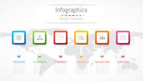 Infographic design elements for your business data with 6 options, parts, steps, timelines or processes. Vector Illustration. Worl. D map of this image furnished Royalty Free Stock Image