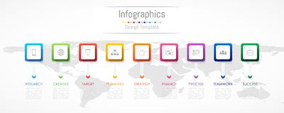 Infographic design elements for your business data with 9 options Royalty Free Stock Photo