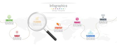 Infographic design elements for your business data with 7 options, steps, timelines or processes and transparent magnifying glass. Infographic design elements Stock Image