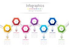 Infographic design elements for your business with 7 options, parts, steps or processes. Infographic design elements for your business with 7 options, parts Royalty Free Stock Photos