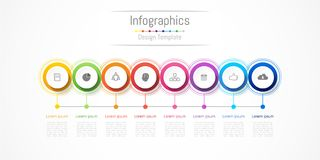 Infographic design elements for your business with 8 options, parts, steps or processes. Infographic design elements for your business with 8 options, parts Stock Images