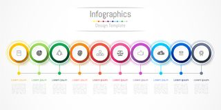Infographic design elements for your business with 10 options, parts, steps or processes. Infographic design elements for your business with 10 options, parts Stock Photos