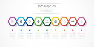 Infographic design elements for your business with 9 options, parts, steps or processes. Infographic design elements for your business with 9 options, parts Royalty Free Stock Image