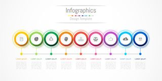 Infographic design elements for your business with 9 options, parts, steps or processes. Infographic design elements for your business with 9 options, parts Royalty Free Stock Photos