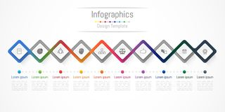 Infographic design elements for your business with 10 options, parts, steps or processes. Infographic design elements for your business with 10 options, parts Stock Images