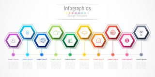 Infographic design elements for your business with 10 options, parts, steps or processes. Infographic design elements for your business with 10 options, parts Royalty Free Stock Photo