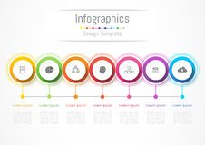 Infographic design elements for your business with 7 options, parts, steps or processes. Infographic design elements for your business with 7 options, parts Stock Photography