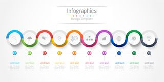 Infographic design elements for your business with 10 options, parts, steps or processes. Vector Illustration Stock Images