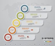 Infographic design elements for your business with 5 options. 5 steps timeline presentation. EPS 10 Royalty Free Stock Photos