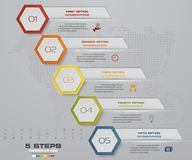 Infographic design elements for your business with 5 options. 5 steps timeline presentation. EPS 10 Royalty Free Stock Image