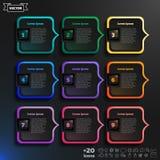 Infographic design för vektor med färgrika fyrkanter på den svarta bakgrunden arkivbilder