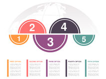 Infographic design with five business steps and globe. Workflow layout, annual report, web design, diagram. Marketing template wit Royalty Free Stock Photos