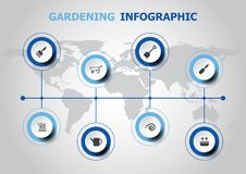 Infographic design with gardening icons Stock Photos